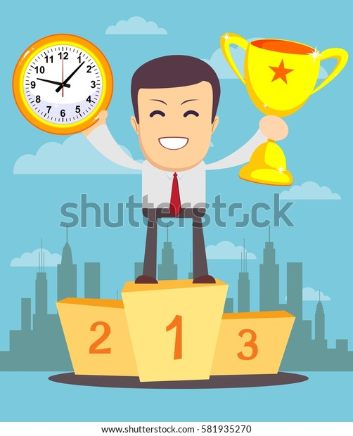 Portrait of a businessman holding a watch and trophy cup. Concept of time management