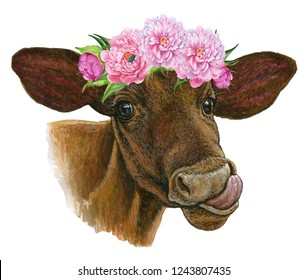 Portrait of a calf with a flower wreath, animal, cow. watercolor illustration on isolated white background .