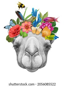 Portrait of Camel with a floral crown.  Flora and fauna. Hand-drawn illustration, digitally colored.