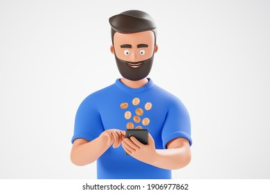Portrait cartoon beard character man in blue tshirt use smartphone with bitcoins fly from screen over white background. 3d render illustration.