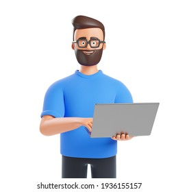 Portrait of cartoon beard character man in glasses holding laptop isolated over white background. Digital marketing and data science concept. 3d render illustration.
