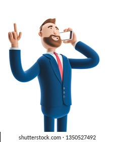 Portrait of cartoon character talking on mobile phone. 3d illustration
