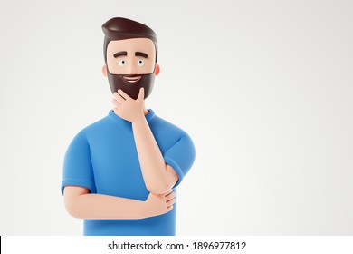 Portrait of cartoon thinking man in blue t-shirt over white background. 3d render illustration.