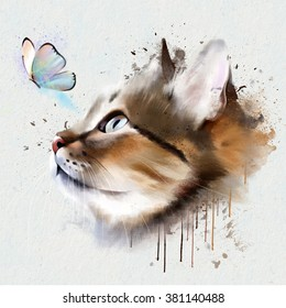 portrait of cat and butterfly on white background closeup isolated on white background, with elements of the sketch and spray paint to print on clothing, cards