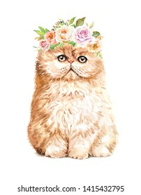 Portrait cat. Watercolor hand drawn illustration.Watercolor cat with flower crown layer path, clipping path isolated on white background.