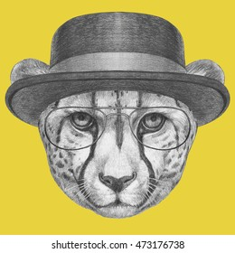 1166c25eb865b Portrait of Cheetah with hat and glasses. Hand-drawn illustration.