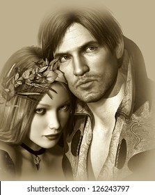 portrait of a classic love pair in monochrome version