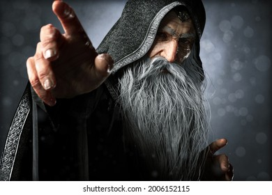 Portrait closeup of a wise Warlock old hooded wizard posing ready to cast an enchanted powerful spell  with a blue gradient background. 3d rendering