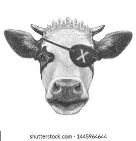 Portrait of Cow with diadem and eye patch. Hand-drawn illustration.