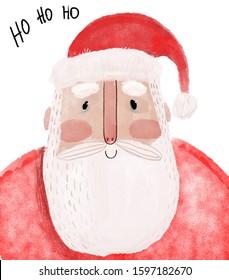 Portrait of cute doodle Santa