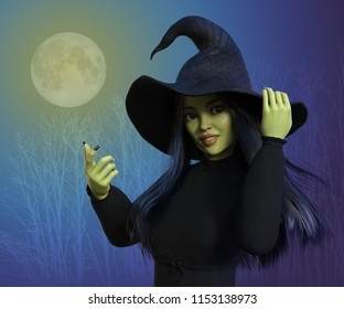 Portrait of a cute little witch in moonlight - 3d render.