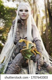 Portrait of a cute smiling fantasy elf with long flowing white hair posing with her pet golden dragon. 3d rendering