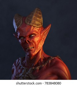 Portrait of a demon - 3d render.
