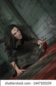 Portrait of a demonically possessed girl inside a creepy asylum. 3D Illustration.