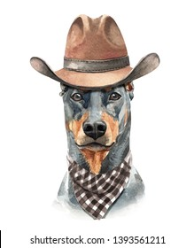 Portrait Doberman of a dog. Watercolor hand drawn illustration.Watercolor Doberman with scarf and hat layer path, clipping path isolated on white background.