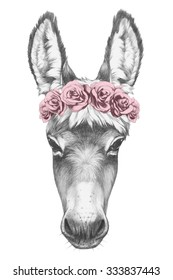 Portrait of Donkey with floral head wreath. Hand drawn illustration.