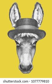 Portrait of Donkey with hat,  hand-drawn illustration