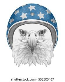 Portrait of Eagle with Helmet. Hand drawn illustration.