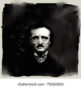 Portrait of Edgar Allan Poe.