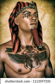 Portrait of an Egyptian pharaoh with his chest tattooed. 3D Illustration.