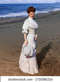 Portrait of an elegant  style woman at the beach on a summer day, Regency dress, 3d render