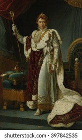Portrait of Emperor Napoleon I, c. 1805-15, by workshop of Baron Francois Gerard, French oil painting. General Napoleon proclaimed himself emperor in 1804 and was deposed in 1814