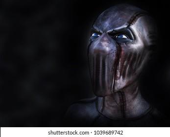 Portrait of an evil looking superhero or villain, 3D rendering. Black background.