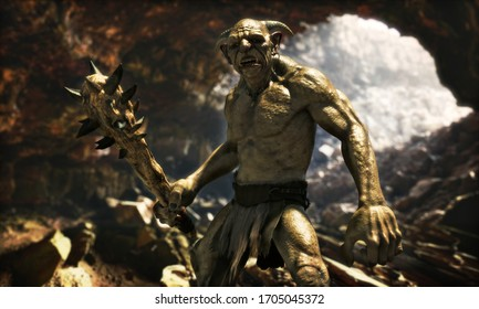 Portrait of an evil troll with a spiked club wandering through a large natural cave.3d rendering