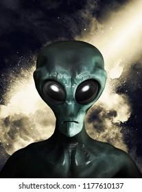 Portrait of an extraterrestrial in dark background. 3D illustration