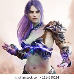 Portrait of a fantasy dark elf female warlock displaying her mystic power. 3d rendering . Fantasy background