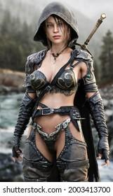 Porträt einer fantasievollen Ranger Pfadfinderin, die ihr Heimatland mit Lederrüstung patrouilliert und mit einem Schwert ausgestattet ist. 3D-Rendering