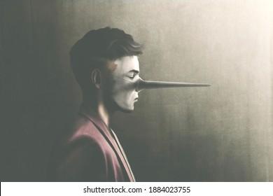 Portrait of fantasy of liar man, illustration, digital painting