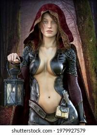 Portrait einer fantasieroten weiblichen Figur, die ein rotes Kapuzenblatt trägt und eine Laterne hält. 3D-Rendering