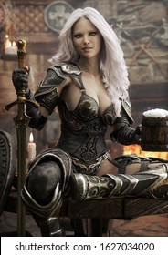 Portrait of a fantasy warrior Dark Elf female with white hair ,relaxing in a medieval tavern with ale after a long journey. 3d rendering