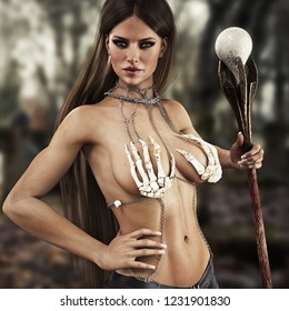 Portrait of a fantasy wizard female with long brown hair wearing a unique bones outfit with a magical staff in hand .3d rendering
