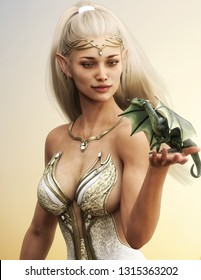 Portrait of a fantasy wood elf female with long golden flowing hair and her mythical green dragon .3d rendering