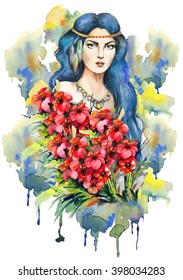 Portrait of a fashion girl with red flowers on a background with watercolor drips.Boho style. Hand drawn  by watercolor. Raster illustration
