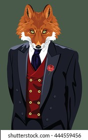 Portrait of a fox in a man's business suit