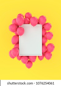 Portrait frame poster mock up with pink balloons on bright yellow wall background. 3D rendering. Festive colourful design