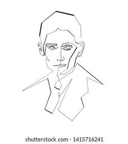Portrait of Franz Kafka by one line