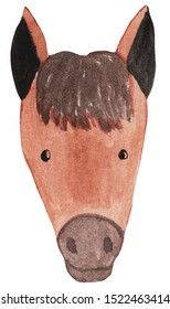 Portrait of a funny cartoon horse. Watercolor illustration for prints, posters, cards, design