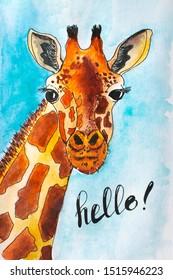 Portrait of a funny giraffe, cartoon giraffe character. Hand drawn giraffe. Sketch style. Illustration.