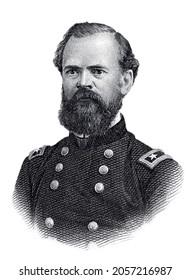 Portrait of General James Birdseye McPherson Isolated on White Background