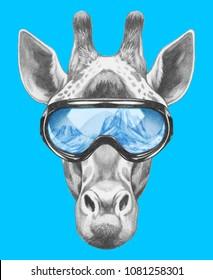 Portrait of Giraffe with goggles,  hand-drawn illustration