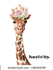 Portrait giraffe Watercolor hand drawn illustration.Watercolor roses bouquet on head giraffe layer path, clipping path isolated on white background.