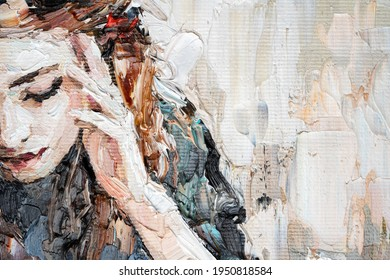 Portrait of a girl in a cafe. Fragment of an oil painting. Atractiv art on canvas.