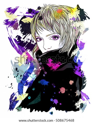 Portrait Girl Coat Girl Short Blonde Stock Illustration Royalty