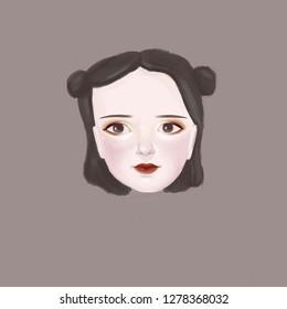 Portrait of girl's head