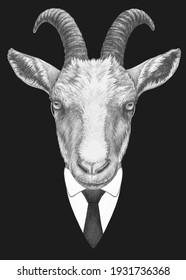 Portrait of Goat in suit. Bodyguard. Hand-drawn illustration.