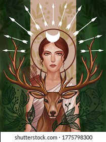 Portrait of the goddess Artemis. Next to her is a deer.